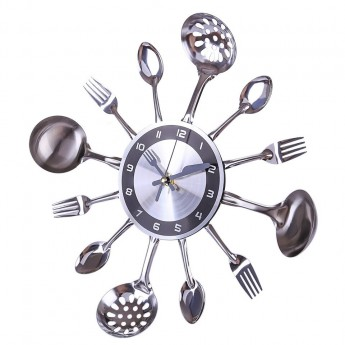 KITCHEN UTENSIL SPOON, FORK & LADLE WALL CLOCK HOME DECOR IDEA