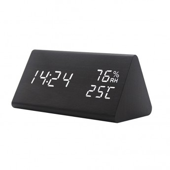 WOOD LED ALARM CLOCK:  HUMIDITY, TEMP,  DAY & DATE & BRIGHTNESS & VOICE CONTROL