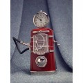 Miniature Clock, Vintage Style Red GAS PUMP