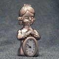 Mini Clocks, Silver Girl Child n Prayer Miniature Clock