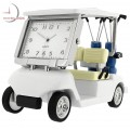 GOLF CART MINIATURE w CLUBS COLLECTIBLE SPORTS MINI DESKTOP CLOCK