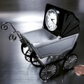 VINTAGE BABY BUGGY STROLLER  MINI DESK CLOCK COLLECTIBLE GIFT