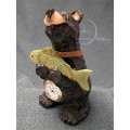 BEAR w FISH MINIATURE ANIMAL FIGURINE COLLECTIBLE DESK MINI CLOCK