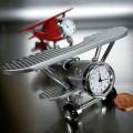 BIPLANE FIXED WING MINIATURE AIR PLANE COLLECTIBLE AVIATION MINI CLOCK GIFT IDEA