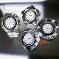 CRYSTAL CLOCK GROUP of FOUR: VALENTINES HEART DIAMOND OCTAGON & PENTAGON