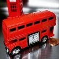 RED DOUBLE DECKER BUS COLLECTIBLE MINIATURE DESKTOP CLOCK