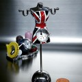 DRESS MANNEQUIN MINIATURE SEAMSTRESS DESIGNER COLLECTIBLE MINI CLOCK WITH UK FLAG