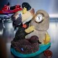 DUCKS ON POND MINIATURE FIGURINE DESKTOP MINI CLOCK BOOKENDS