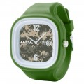 FLEX CLASSIC WATCH WITH CAMOUFLAGE DIAL & GREEN SILICONE STRAP