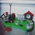 Collectible Mini Clock GARDENING SCENE w Wheelbarrow & Birdhouse