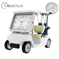 GOLF CART MINIATURE w CLUBS COLLECTIBLE SPORTS MINI DESKTOP CLOCK size
