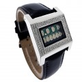 CUSTOM KERALA TRANCE RARE BINARY LED WATCH w/ SWAROVSKI CRYSTALS & CIRCUIT BOARD FACE