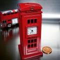 PHONE BOOTH MINIATURE BRITISH RED TELEPHONE BOX MINI CLOCK TOURISM SOUVENIR