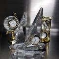 CRYSTAL SAIL BOAT MINIATURE DESK CLOCK DECORATIVE COLLECTIBLE GIFT