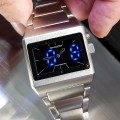SHADOW WATCH STAINLESS STEEL DUAL TIMEZONE HYBRID ANALOG LED UNISEX JAPANESE WATCHES