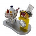 SHOPPING CART MINIATURE GROCERIES MILK BREAD EGGS FRUIT BAG SUPERMARKET COLLECTIBLE MINI CLOCK