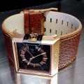 BLACK DICE SOLO WATCH w/ ROTATING DIAL IN CUSTOM SQUARE CASE & WIDE LEATHER STRAP