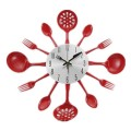 KITCHEN UTENSIL SPOON, FORK & LADLE WALL CLOCK red