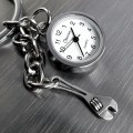 WRENCH MINIATURE TINY TOOL CHARM MECHANIC HANDYMAN KEY CHAIN RING w WORKING MINI CLOCK